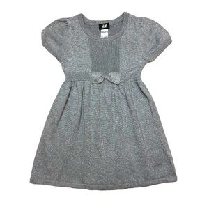 H&M 2-4yr Silver Shimmer Sweater Bow Holiday Dress
